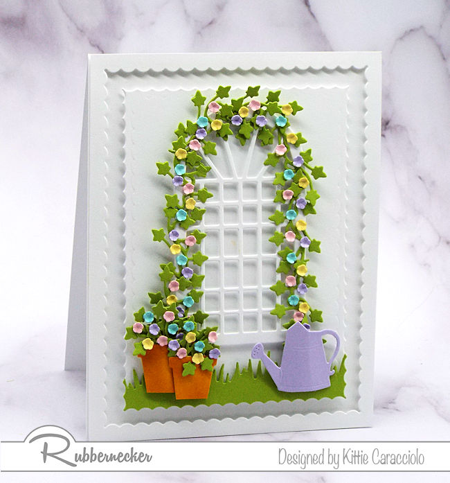 I love the soft pastel colors on this spring garden trellis card. Click on the picture to see more details.