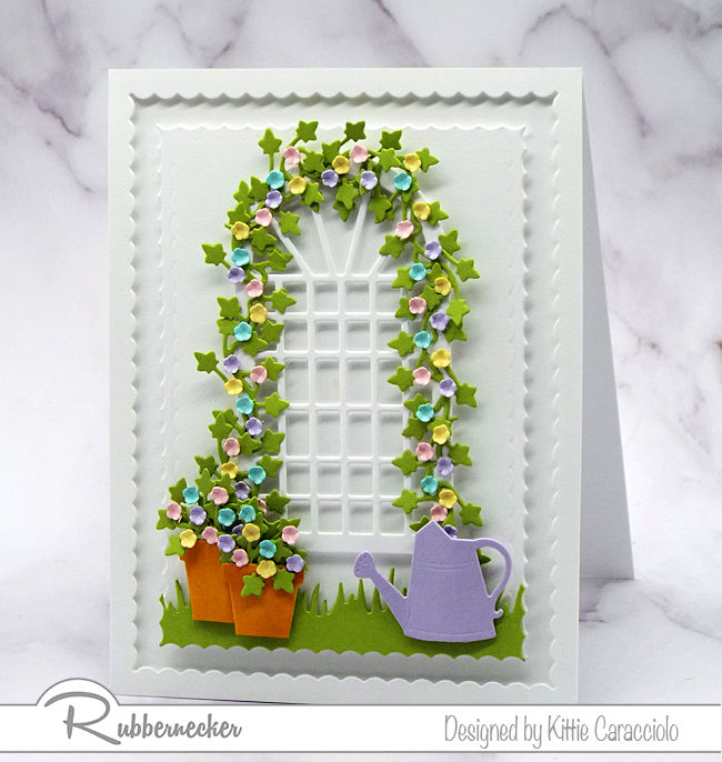 This spring garden trellis card is so pretty and perfect for any occasion. Click on the photo to see more details.
