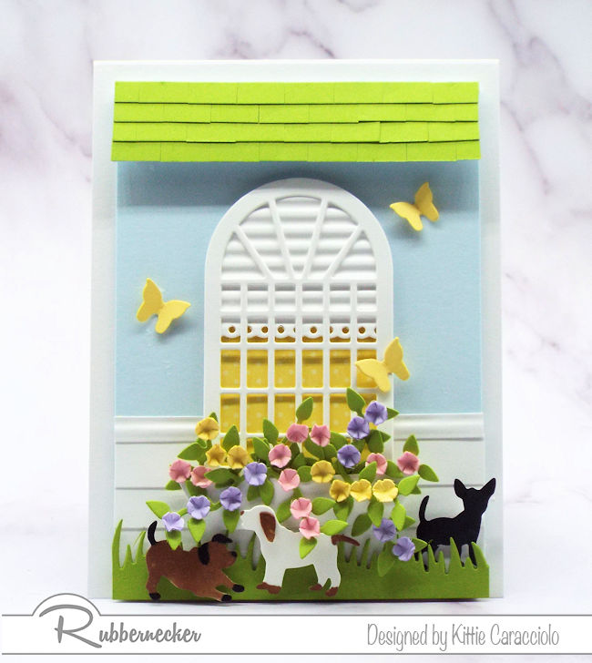 Click on the picture to see how I made this sweet dog greeting card using dies made by Rubbernecker.rch Trellis 6 center