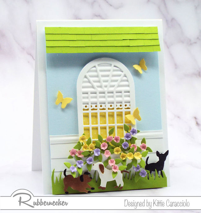 Click through to see how I made this sweet dog greeting card using dies made by Rubbernecker.