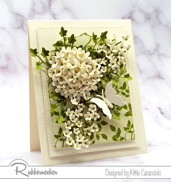 Click on the picture to see my step by step tutorial on how to make a hydrangea using flower dies made by Rubbernecker.