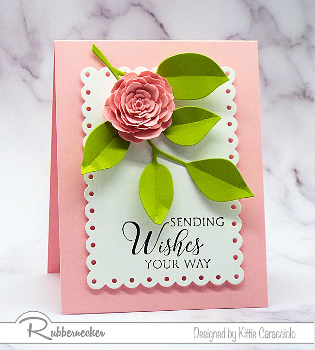 Come over to see how I made this pretty clean and simple flower card using a die cut flower and foliage on a white background.