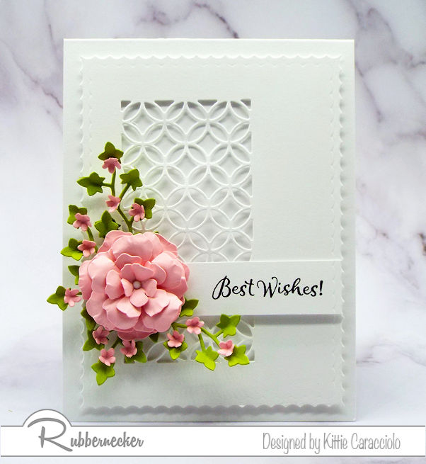 The simplicity of the best wishes card base allows the sentiment, flowers and foliage to be the main focus.  Come over to see how I created the pretty flowers.
