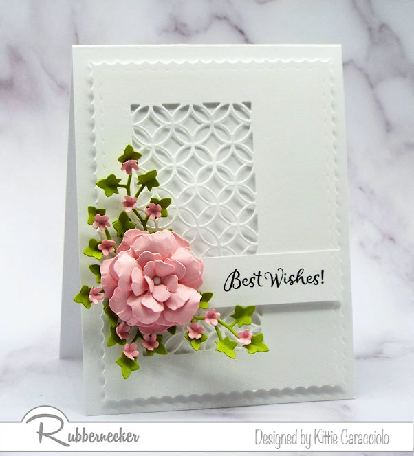 The simplicity of the best wishes card base allows the sentiment, flowers and foliage to be the main focus.  Click onthe picture to see how I created the pretty flowers.