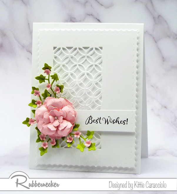 The simplicity of the best wishes card base allows the sentiment, flowers and foliage to be the main focus.  Come over to see how I made the pretty flowers.