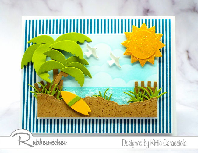 Create interest in your cards using a striped background image that set off your focal theme.