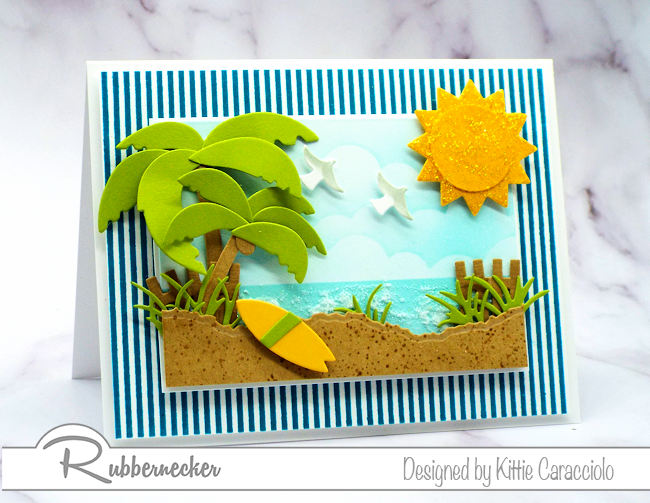 Create interest in your cards using a striped background image that set off your focal images.