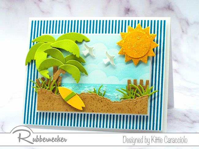 Create interest in your cards using a striped background image that highlights your focal theme.