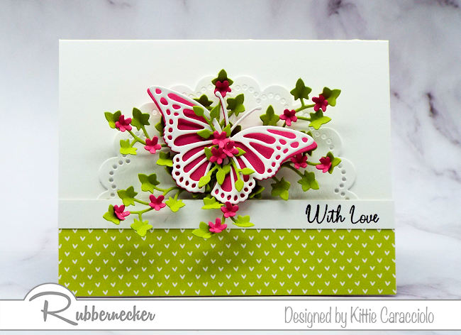 Create a with love card to send to someone special with beautiful die cut images and bright colors. Click on the picture to see how I made this pretty card.
