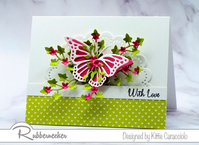 Create a with love card to send to someone special with beautiful die cut images and bright colors. Come see how I made this pretty card.