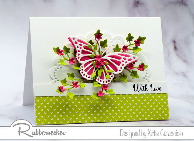 Create a with love card to send to someone special with beautiful die cut images and bright colors. Click on the card to see how I made this pretty card.