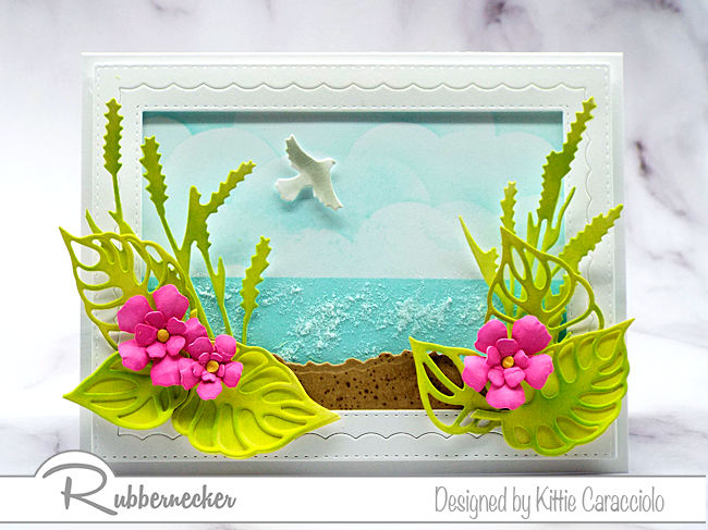 This pretty tropical beach card was made using the Rubbernecker Color Fuse Inks.  Click on the photo to see my step by step coloring tutorial.