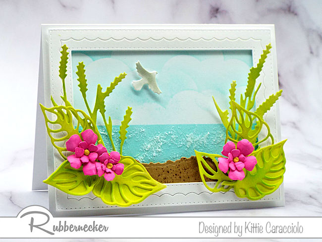 This pretty tropical beach card was made using the Rubbernecker Color Fuse Inks. Click on the card to see my step by step coloring tutorial.