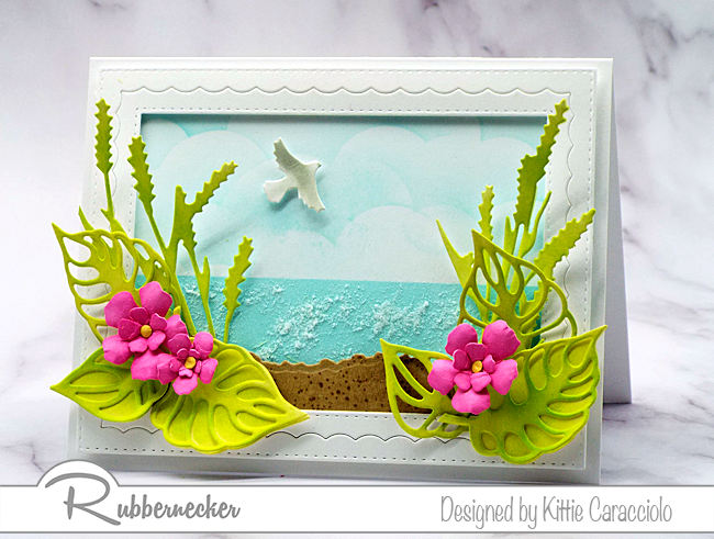 Tropical Beach Card with Color Fuse Inks