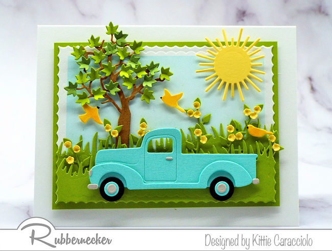 Cards with pickup trucks are on trend for Father's Day.  Come over to see how surrounded this truck with a pretty scene.