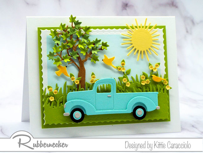 Father's Day is the perfect occasion to make cards with pickup trucks.  Come over to see how I made this pretty scene.