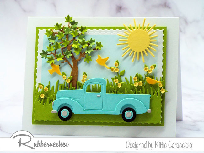 Cards with pickup trucks are popular for Father's Day.  Come see how to make one of your own.