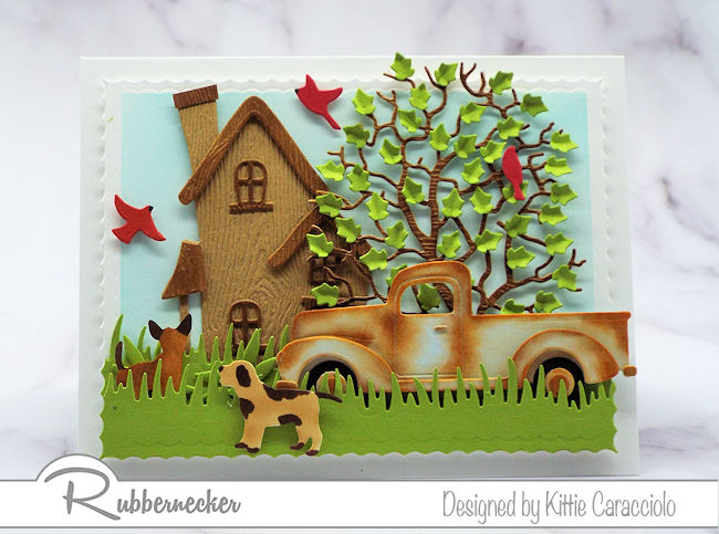 Create a scene card with a rusty pickup truck for Father's Day or any occasion that calls for a masculine card.