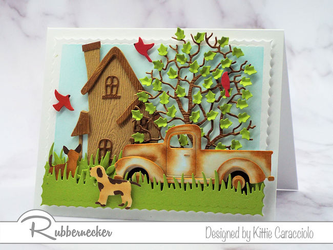 Create a scene card with a rusty pickup truck for any occasion that calls for a masculine card.