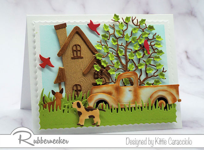 Create a scene card with a rusty pickup truck for Father's Day, birthday or any occasion that calls for a masculine card.