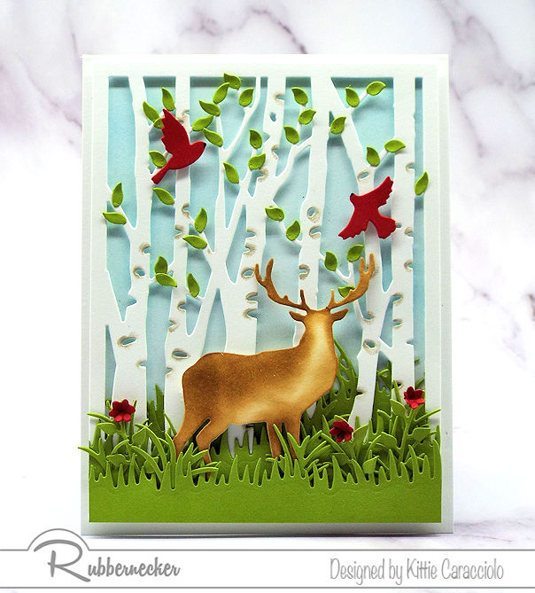 Coming up with ideas for a masculine card is not always easy. Click on the card to see how I made this deer and birch card using dies by Rubbernecker.
