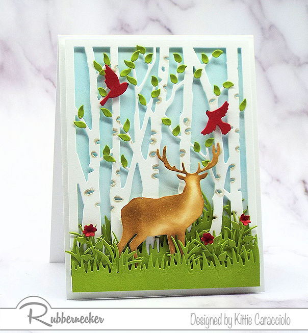 Coming up with ideas for a masculine card is not always easy. Click on the picture to see how I made this deer and birch card using dies by Rubbernecker.