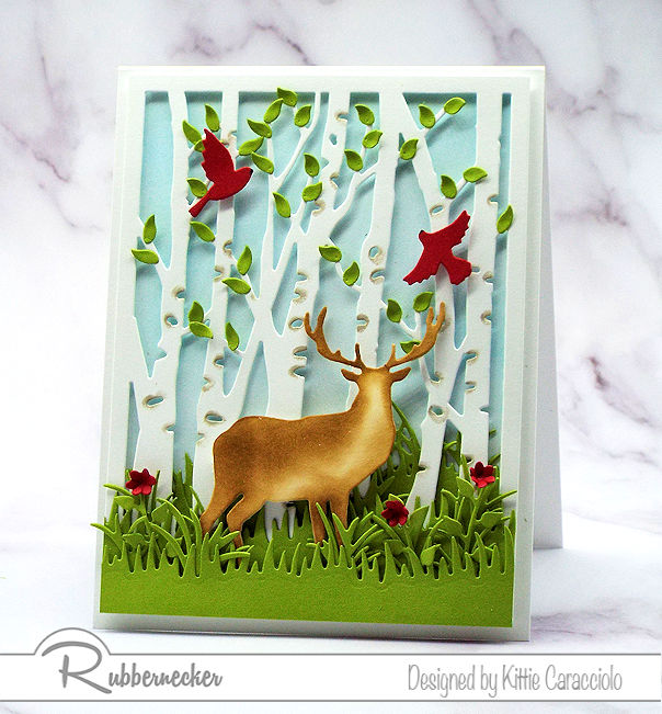 Coming up with ideas for a masculine card is not always easy. Come see how I made this deer and birch card using dies by Rubbernecker.