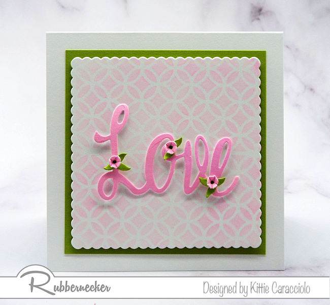 Large scriot word dies create such an interesting focal point on clean and simple cards. Let me show you how I embellish with small leaves and flowers.