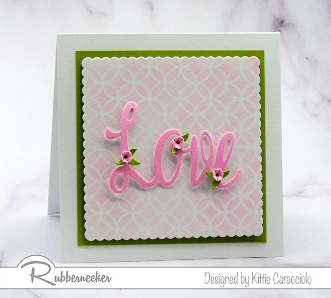 Large scriot word dies create such an interesting focal point on clean and simple cards. Let me show you how I pop them up and embellish with small leaves and flowers.