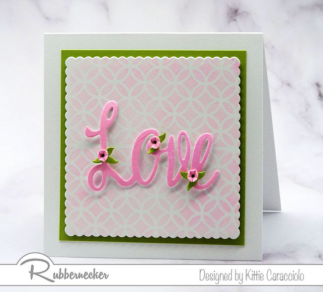 Script word dies can make a big impression on a clean and simple card front.  Come see how I use mounting tape to pop up large die cut words on my cards.