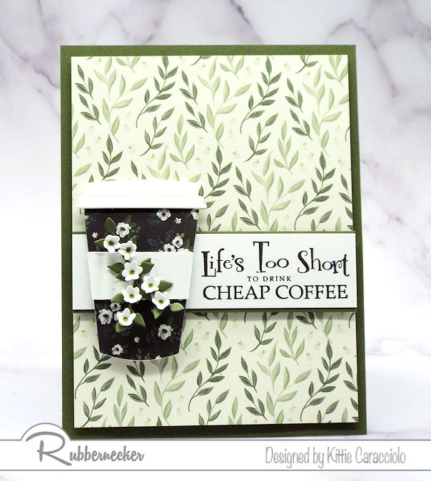This coffee cup card and sentiment are fun to pair together on a greeting card for a coffee drinker. Click on the picture to see the products used for this fun card.