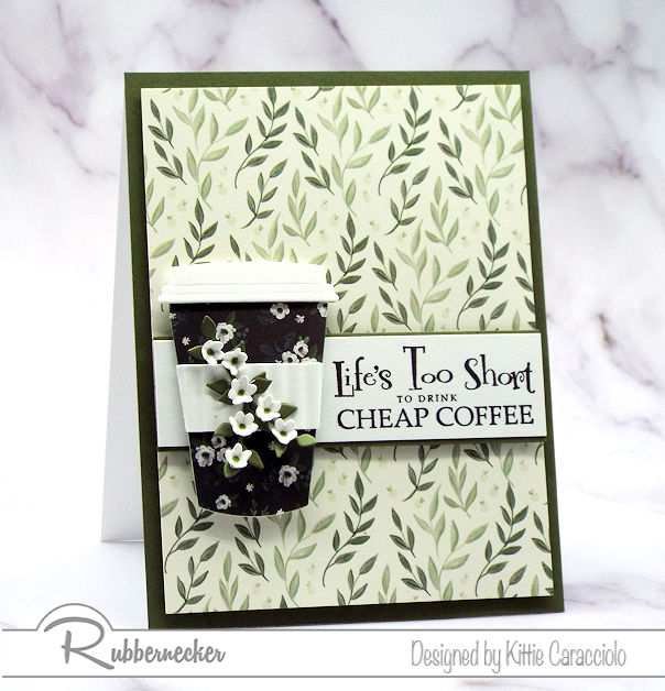 This coffee cup card and sentiment are fun to pair together on a greeting card for a coffee drinker. Click on the card to see the products used for this fun card.