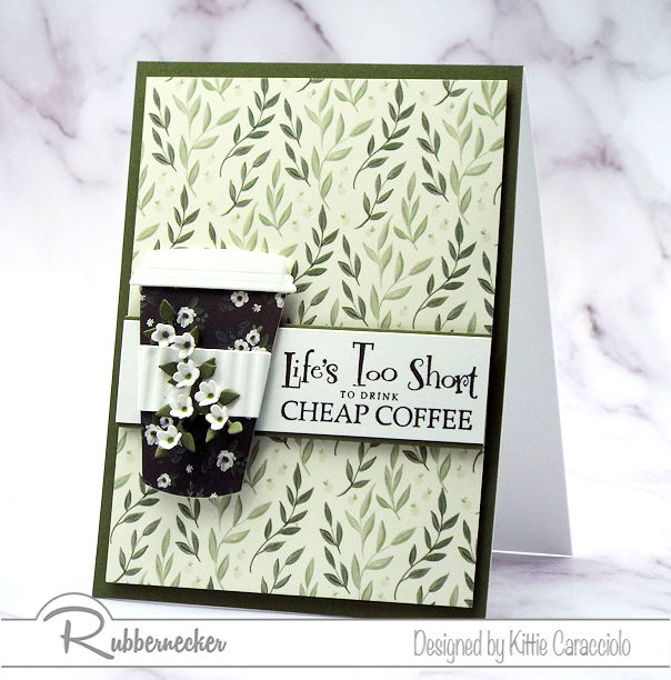 This coffee cup card and sentiment are fun to pair together on a greeting card for a coffee drinker. Come see the products used for this fun card.