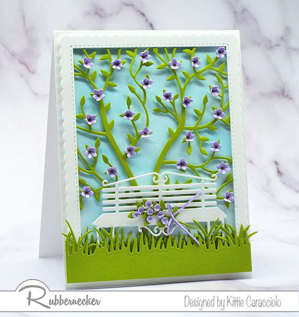 I love creating feminine greeting cards with floral themes and pretty color combinations. Come see how I made this pretty card using dies by Rubbernecker.