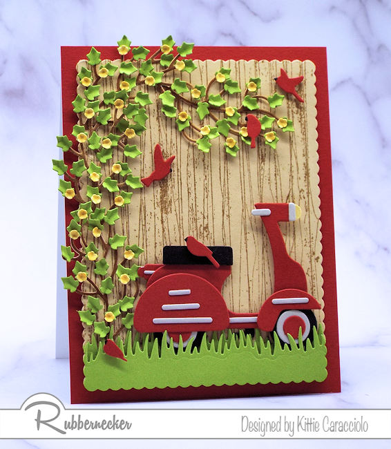 I had so much fun making this scooter card with the wood fence background. Click on the picture to see how I made this using dies made by Rubbernecker.