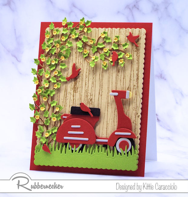 I had so much fun making this scooter card with the wood fence background. Come see how I made this using dies made by Rubbernecker.