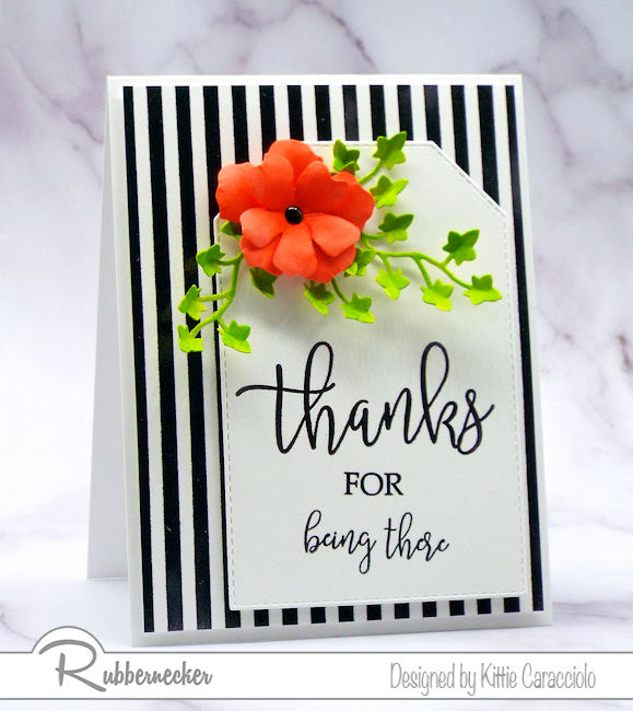 Brightly colored images look so pretty against a black and white background.  Rubbernecker has a huge collection of background stamps to use in cardmaking.