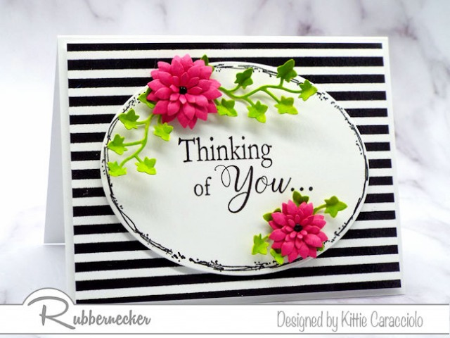 Create a lovely card by framing the sentiment with flowers and placing it on a bold background.