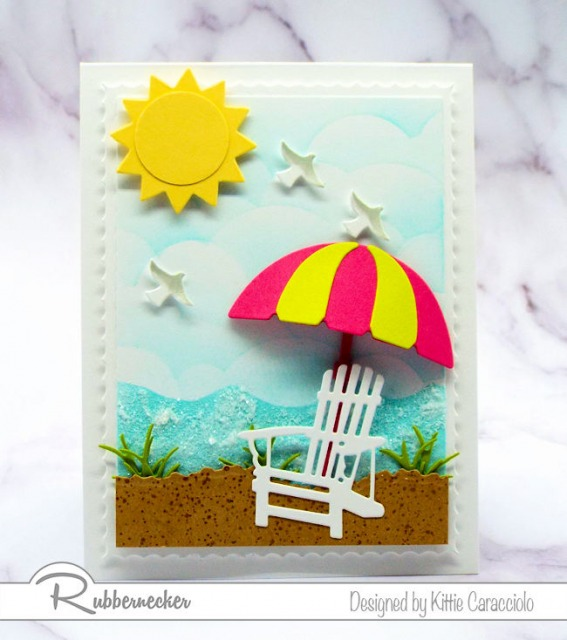 Come over to my beach scene post to see my tutorial on how to create seafoam with embossing paste and clear glitter.