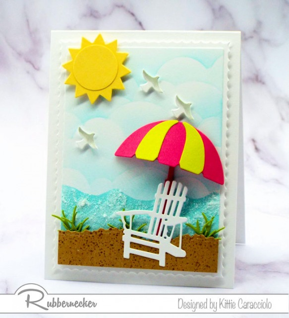 Come over to my beach scene post to see my tutorial on how to create seafoam with embossing paste and sparkly clear glitter.