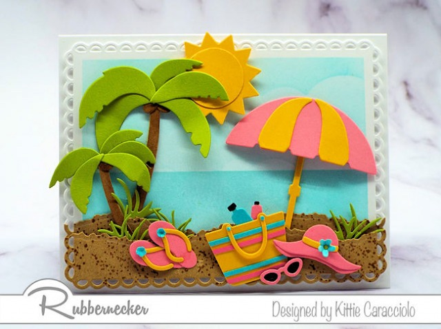 Creating a sunny beach card is fun and easy with all the wonderful beach and summer themed dies made by Rubbernecker Stamps.
