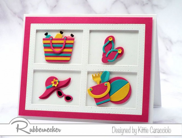 Bright colorful images really pop on an a white background. These fun beach accessories and toys were made with Rubbernecker dies.