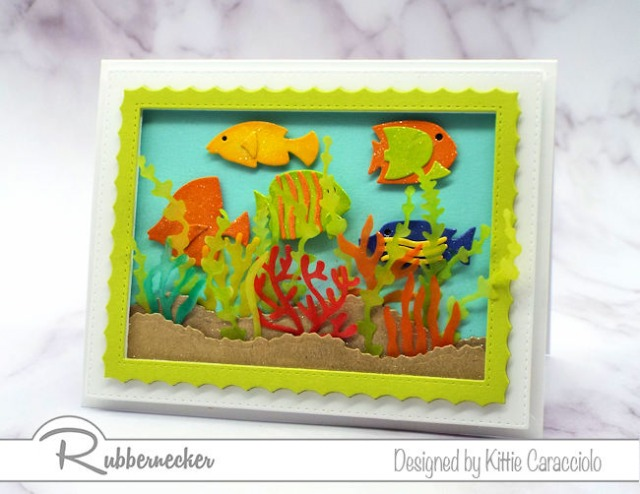 This under the sea card with its brightly colored fish and translucent seaweed and coral is just the right card to send to a fish lover.