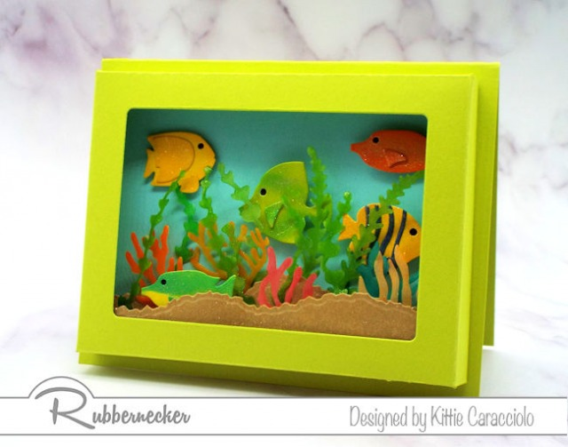Now ANYONE can make a paper shadow box card like this tropical fish tank card with the new dies from Rubbernecker!