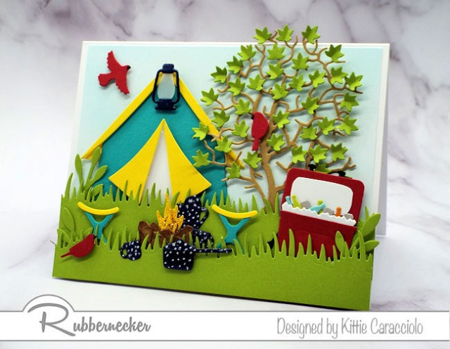 Come check out how I got all these cute details on this handmade camping card - it was easier than it looks!