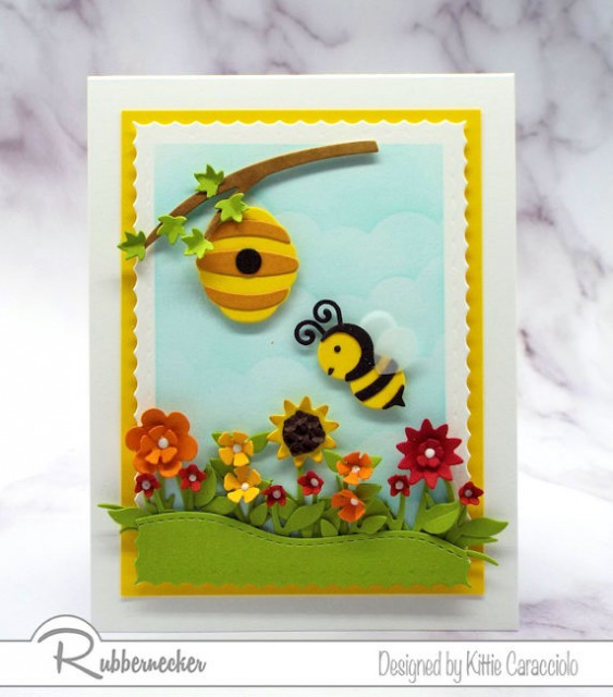 Making this cute little scene was super easy with the new bumble bee die cut set from Rubbernecker!
