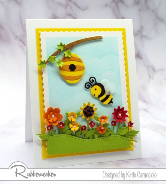 Have you ever seen a cuter bumble bee die cut? He and his little hive are from this new set from Rubbernecker!