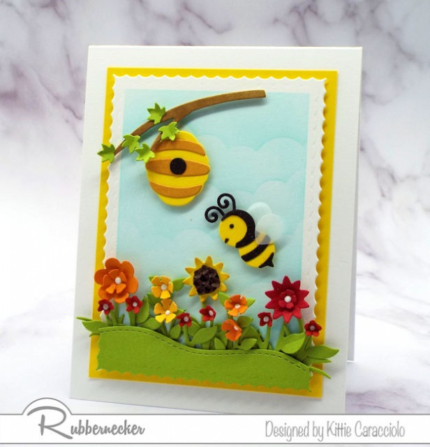 I used the new bumble bee die cut set from Rubbernecker to make this super cute card - come see how!