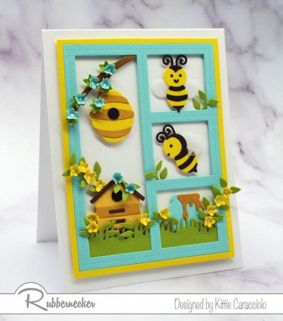 Creating this framed honey bee card with the newly released Rubbernecker Bee with Hive and Bee with Honey Pot sets was so much fun.