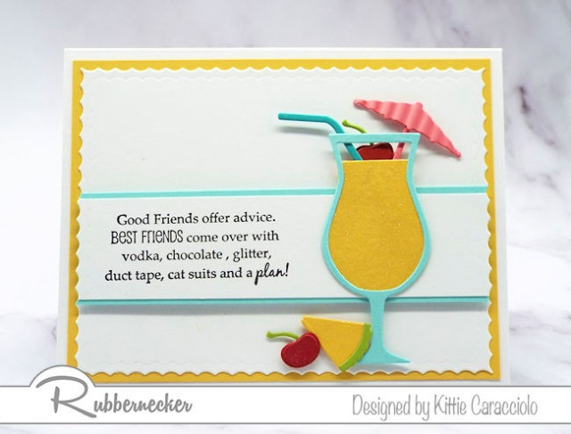 This mai tai card with the fun sentiment is a perfect example of a large colorful image being the main focal point on an all white background.